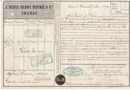 Lettre De Voiture Denis, Mounié & Cie, Cognac, Charente, Eau De Vie 1870 -> Bordeaux - Verkehr & Transport