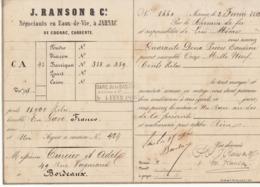 Lettre De Voiture J. Ranson & Co, Jarnac, Charente, Eau De Vie 1868 -> Bordeaux - Verkehr & Transport