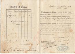 Lettre De Voiture Martell Et Comp., Cognac, Charente, Eau De Vie 1871 -> Bordeaux - Verkehr & Transport