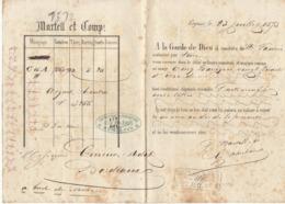 Lettre De Voiture Martell Et Comp., Cognac, Charente, Eau De Vie 1873 -> Bordeaux - Verkehr & Transport