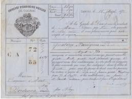Lettre De Voiture Coutanceaux Aîné Saintes Charente  Barriques Eau De Vie  1876 -> Bordeaux - Verkehr & Transport