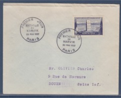 = Bataille De Narvik Enveloppe 1er Jour Paris 28 Mai 1952 Timbre 922 - FDC