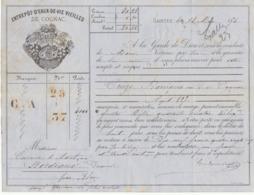 Lettre De Voiture Coutanceaux Aîné Saintes Charente  Barriques Eau De Vie Cognac 1876 -> Bordeaux - Verkehr & Transport