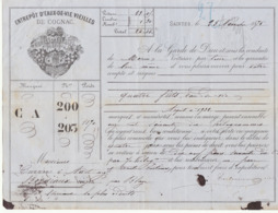 Lettre De Voiture Coutanceaux Aîné Saintes Charente  Barriques Eau De Vie 1875 -> Bordeaux - Verkehr & Transport