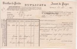 Lettre De Voiture Duplicata Vve A. Vasseur & Fils Epernay Marne 120 Bouteilles Vin De Champagne  1881 -> Bordeaux - Verkehr & Transport