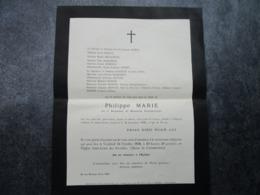 Faire-part Du Décès De Philippe M.... Du 1er Rgt De Hussards Parachutistes, Mort Pour La France Décédé à L'âge De 22 Ans - Army & War