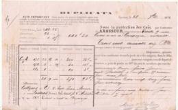 Lettre De Voiture Duplicata A. Vasseur Epernay Marne Champagne Moët & Chandon 1872 -> Bordeaux - Verkehr & Transport