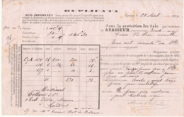 Lettre De Voiture Duplicata A. Vasseur Epernay Marne Vin Blanc Moët & Chandon 1872 -> Bordeaux - Transport