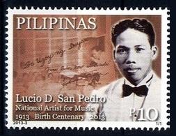 Filippine Philippine Philippinen Pilipinas 2013 Lucio D. San Pedro Birth Centenary Music Artist, 10p.- MNH** (see Photo) - Filippine