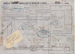 Connaissement Cie Maritime Fraissinet & Cie Marseille Absinthe  -> Bordeaux 1879 - Verkehr & Transport