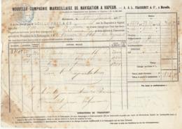 Connaissement Cie Maritime Fraissinet & Cie Marseille Absinthe  -> Bordeaux 1875 - Verkehr & Transport