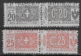 Italia Italy 1914 Regno Pacchi Postali Nodo Savoia 2val Sa N.PP9-PP10 Nuovo MH * - Paketmarken