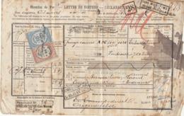 Lettre De Voiture Anvers Vander Bussche Tabac + Déclaration Douane 1875 -> Bordeaux - Verkehr & Transport