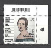 Deutschland / Germany / Allemagne 2019 3493 ** Clara Schumann (06.09.19) - Nuevos