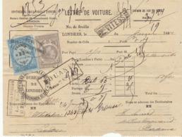 Lettre De Voiture  Londres -> Bordeaux Habits 1882 - Verkehr & Transport