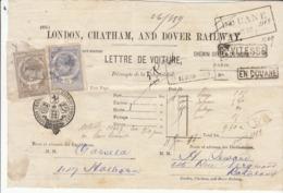 Lettre De Voiture  Londres, Chatham & Dover Railway -> Bordeaux  1883 - Verkehr & Transport