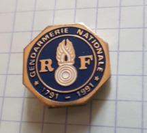 ☺♦♦ Pin's Pins / THEME ARMEE GENDARMERIE  -  ֎  Gendarmerie Nationale 1791-1991 - Anniversaire 200 Ans - Militaria