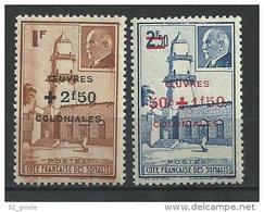 "Cote Somalis YT 251 & 252 "" Oeuvres Coloniales "" 1944 Neuf** - Côte Française Des Somalis (1894-1967)"