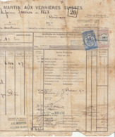 Lettre De Voiture JL Martin Verrières Suisse Bordeaux, Absinthe Pernod Couvet 1873 (3 Scans) - Transport