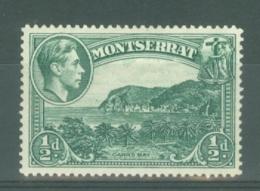 Montserrat: 1938/48   KGVI   SG101a    ½d  [Perf: 14]    MH - Montserrat