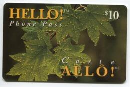 Telecarte Prépayée °_ Canada-Hello Phone Bell-Feuilles Perlées-11.95- R/V 1371 - Canada