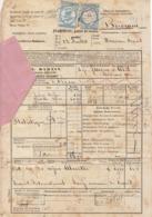 Lettre De Voiture JL Martin Verrières Suisse Bordeaux Absinthe 1872  (2 Scans) - Verkehr & Transport