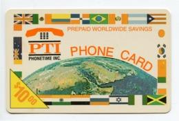 Telecarte Prépayée °_ Usa-PTI Phonetime-Worldwide-$10.00- R/V 6990 ° Fine - Andere