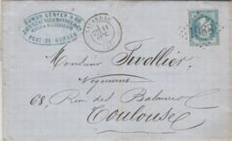 France Yvert 29 Lettre Entête Javerzac Pont De Bordes Cachet LAVARDAC Lot Et Garonne 11/10/1870 GC 1988 à Toulouse 31 - 1849-1876: Période Classique
