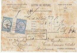 Lettre De Voiture Londres /Chemin De Fer Du Nord/ Bordeaux 1873 - Verkehr & Transport