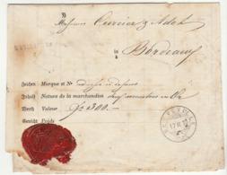 Lettre De Voiture Neuveville Suisse -> Bordeaux 2 Montres En Or 1870 (2 Scans) - Trasporti