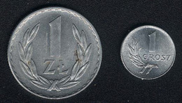 Polen, Lot 1 Grosz + 1 Zloty 1949, Alu, UNC/AUNC - Pologne