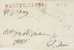 1829- Lettera Da MONTEBELLUNA ( Voll. N°1 ) Rosso Per Dona - Italy