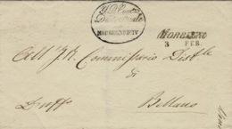 1857- Lettera Da MORBEGNO / 3   FEB  ( Voll N° 12 ) Per Bellano - Lombardy-Venetia