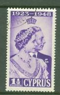 Cyprus: 1948   Royal Silver Wedding    SG166   1½pi    Used - Chipre (...-1960)