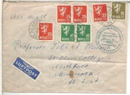 NORUEGA NES PA HEDMAR PRIMER VUELO OSLO NEW YORK PAN AM 1950 - Cartas