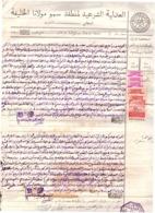 Marruecos. Protectorado. 5 Sellos Fiscales Sobre Manuscrito 1943. Disfrute Inmobiliaria. Jurisdicción Califal. - Manuscripts