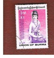 MYANMAR / BIRMANIA (BURMA)    -  SG 311 -  1989  COSTUMES: RAKHINE WOMAN         -  USED ° - Myanmar (Burma 1948-...)