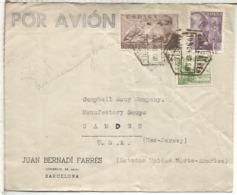 BARCELONA CC A USA MAT HEXAGONAL SELLO FRANCO PERFIL 4 PTS SANCHEZ TODA CON CENSURA - 1931-50 Briefe U. Dokumente