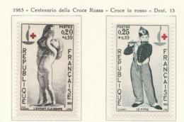 PIA  - FRANCIA  -  1963  : A Profitto Della Croce Rossa -  Centenario Della Croce Rossa  - (Yv  1400-01) - First Aid