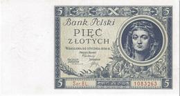 POLAND 5 ZLOTYCH 1930 PICK 72 AU/UNC SERIES CU - Pologne