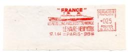 MARINE = PARIS 96 1964 = EMA Illustrée Du PAQUEBOT FRANCE = ' Le Plus Long Du MONDE' - Marcophilie (Lettres)