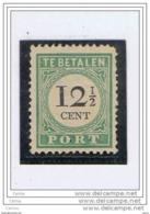 CURACAO:  1892  TASSE  III° TIPO  -  12 C.1/2  VERDE  T. L. -  D. 12 1/2  -  YV/TELL. 14 - Curaçao, Antille Olandesi, Aruba