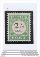CURACAO:  1892  TASSE  III° TIPO  -  2 C.1/2  VERDE  N. -  D. 12 1/2  -  YV/TELL. 11 - Curaçao, Antille Olandesi, Aruba