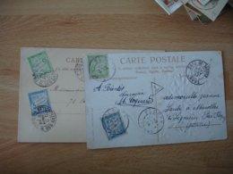 Lot 2 Lettre Taxee 2 Timbre  Chiffre Taxe Duval 15 Et 5 C - Storia Postale