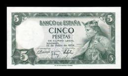 España Spain 5 Pesetas Alfonso X 1954 Pick 146 Serie L SC UNC - [ 3] 1936-1975: Franco