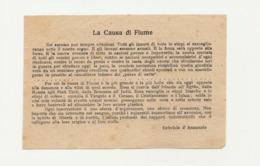 """Foglietto La Causa Di Fiume """" Noi Saremo Pur Sempre Vittoriosi…Gabriele D'Annunzio"""" - Documenti Storici"""