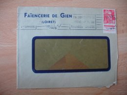Marianne Gandon Bord Feuille Filigrane 15 F Rouge Seul Sur Lettre - 1921-1960: Modern Period