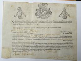 Certificato Di Credito Nominativo Di Luoghi 1 Da Scudi 100 Ciascuno, Firenze Agosto 1722 - Documenti Storici