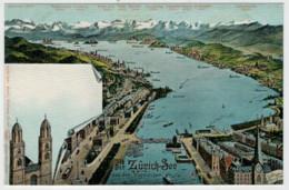C.P.  PICCOLA   DER  ZURICH SEE  AUS  DER  VOGELSCHAU        2 SCAN     (NUOVA) - ZH Zurich