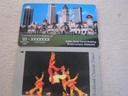 2 X Singapore Used GPT  Cards Sultan Abdul Sanad Building/ Chinese Dance,61SIGC/34SIGA - Singapur